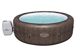 Lay-Z-Spa St Moritz Hot Tub, 180 AirJet Massage System Rattan Design Inflatable Spa with Freeze Shield Year Round Technolo...