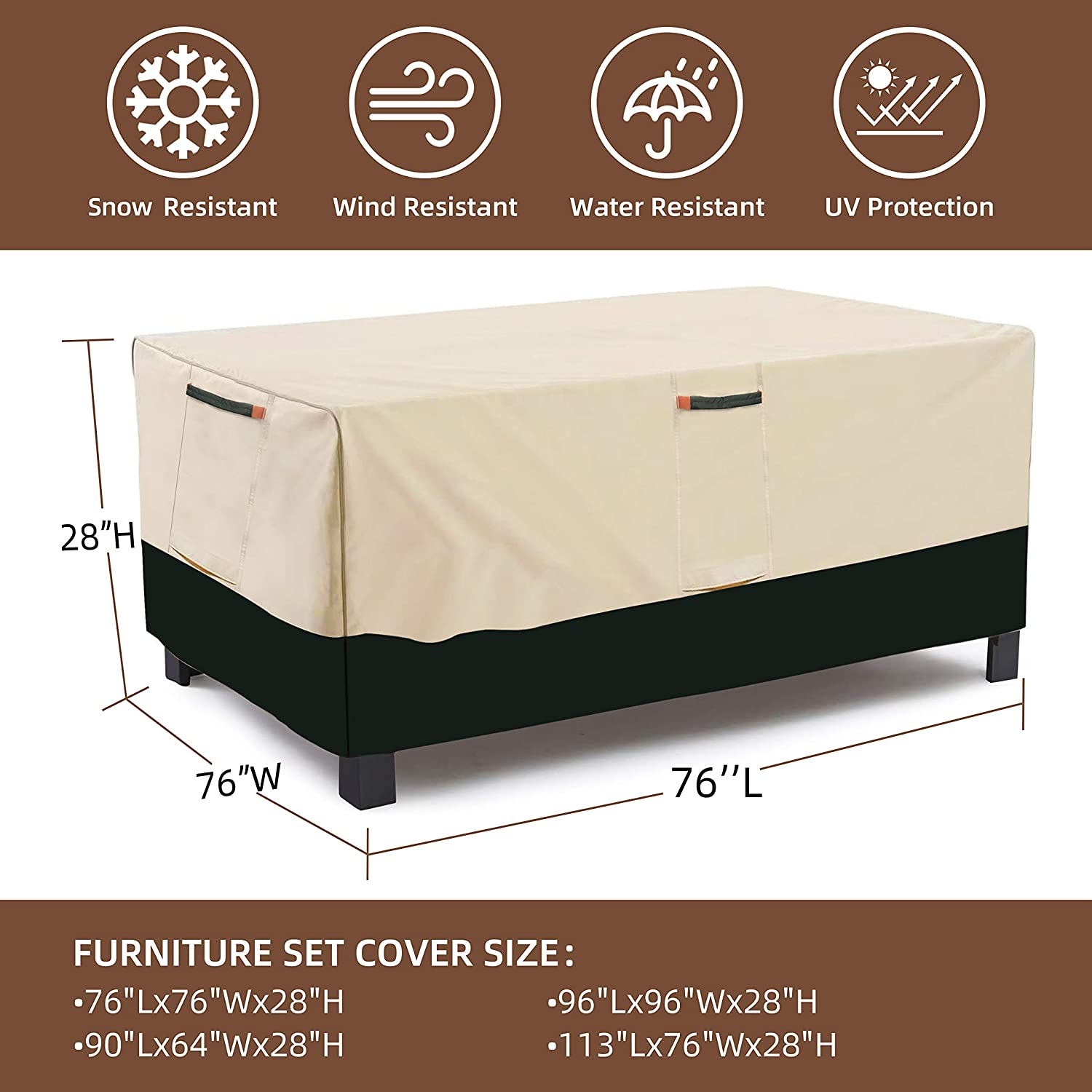 Umbrauto Extra Large Patio Furniture Covers Outdoor Table Cover Rectangle Furniture Set Covers Waterproof Windproof Tear Resistant 76Lx76Wx28H inch