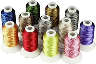 Simthread 3 Options Embroidery Machine Thread Variegated Colors Multi Colors 12 Colors Per Set 550 Yards For Brother Janome Babylock Singer Pfaff Bernina Husqvaran Embroidery and Sewing Machines (MU2)