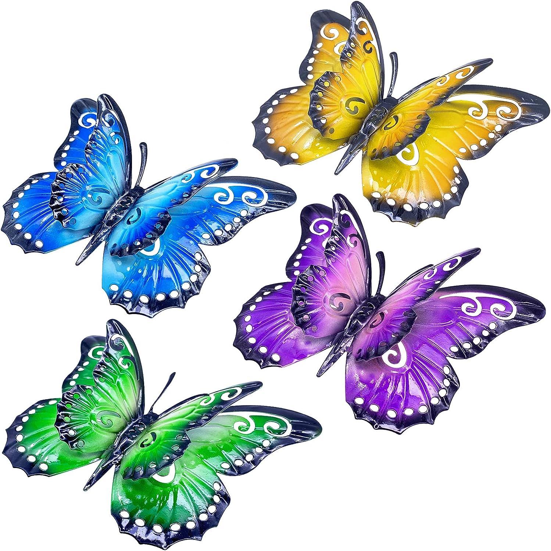 VOKPROOF Metal Butterfly Outdoor Decor - Set of 4 Double Wings Butterflies Wall Art Decor,Indoor and Outdoor Plaques & Wall Art Decorations for Home, Room, Garden, Patio, Fence, Yard