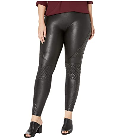 Spanx Plus Size Faux Leather Quilted Leggings (Very Black) Women