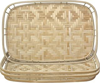Made Terra Bamboo Wicker Serving Trays with Handles, Handwoven Serving Platter Trays for Coffee, Breakfast, Bread, Food, D...