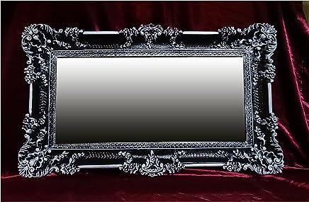 Arte Y Antigüedades Espejo De Pared Negro Antiguo Barroco Reproducción Baño Decoración 56x46 2