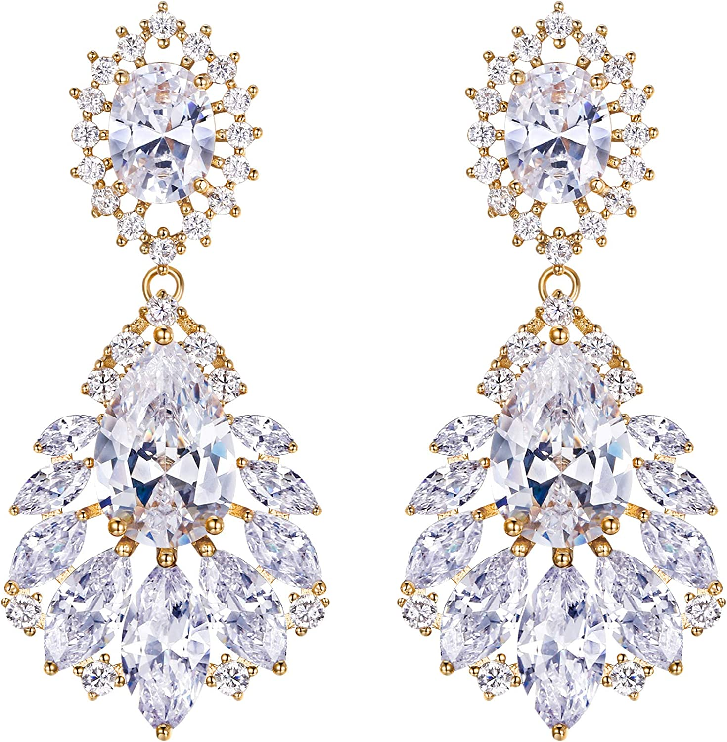 BriLove Sales Wedding Bridal Cubic Zirconia Earrings Clip_On 2021 autumn and winter new for Women