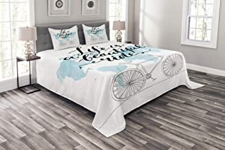 Lunarable Quote Bedspread Set Queen Size, Life is a Beautiful Ride Quote with Watercolor World Map and Bicycle, Decorative Quilted 3 Piece Coverlet Set with 2 Pillow Shams, Pale Blue Black White