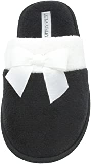 Laura Ashley Ladies Terry Scuff Slipper with Bow (See More Colors & Sizes)