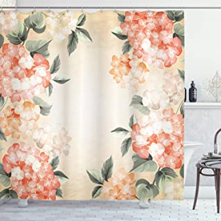 Ambesonne Floral Shower Curtain, Blooming Hydrangea Flowers Leaves Bouquet Vintage Style Spring Nature Print, Cloth Fabric Bathroom Decor Set with Hooks, 70