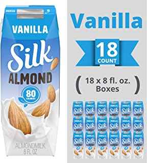Silk Shelf-Stable Almondmilk Singles, Vanilla, Dairy-Free, Vegan, Non-GMO Project Verified, 8 oz., (Pack of 18)