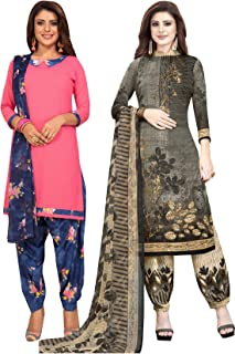 Salwar Studio Women's Pack of 2 Synthetic Printed Unstitched Dress Material Combo-MONSOON-2853-2892