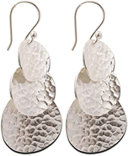 Dangle Hammered Karen Hill Tribe Design Earring Pure Silver