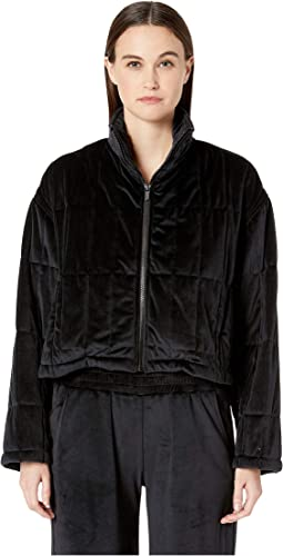 Quilted Zip-Up Jacket with Cinched Back Detail