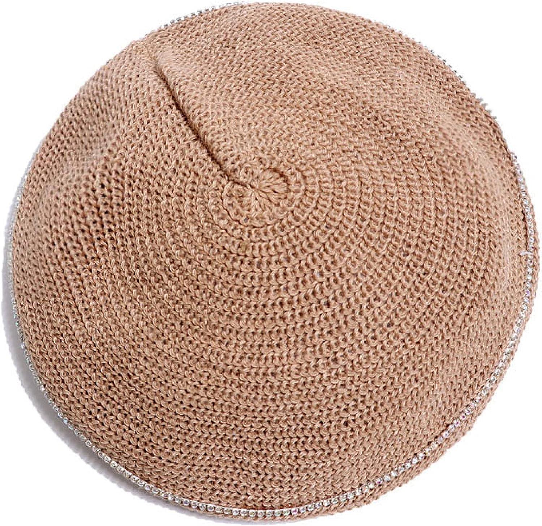 Berets for Women Fashion with Diamonds Decorative Retro Art Painter Hat Breathable Adjustable Beret Cap