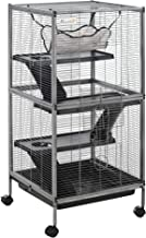 PawHut Rolling Small Animal Cage Pet for Rabbits, Chinchillas, Hamsters, and Ect with 4 Platforms and Removable Tray