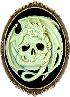 Yspace Dragon Skull Brooch Pin Shield Decor Antique Brass Cameo Fashion Jewelry Pouch for Gift