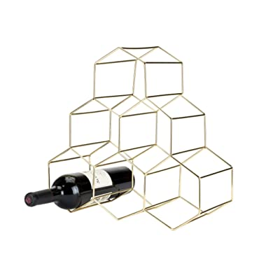 Viski Belmont Geo Rack Freestanding Wine Racks & Cabinets Holds 6 Bottles, 14.25 , Gold
