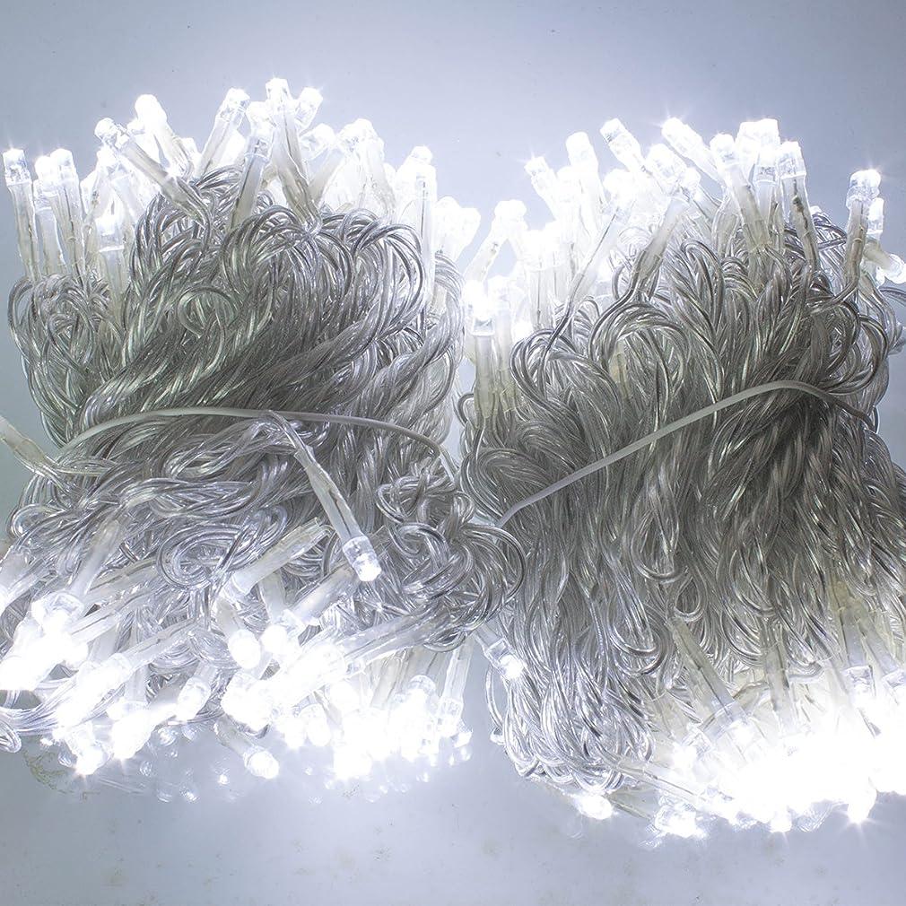 めったに爆発物パワー電光ホーム イルミネーション ストレート [ 8パターン 発光 ] 屋外 防水 防雨 クリスマス ハロウィン DIY 30m LEDライト 300球 クリアケーブル (ホワイト)