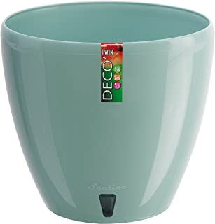 Santino, Self Watering Planter Deco 7.9 Inch,Jade, Indoor Decorative Flower Pot with Drainage Cartridge and Water Level Indicator