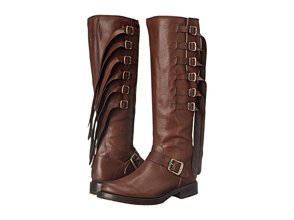 Frye Veronica Strap Tall (Chocolate Tumbled Full Grain) Cowboy Boots