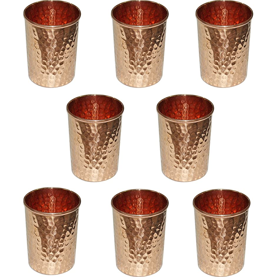 SKAVIJ Pure Copper Water Tumblers Hammered Style Drinking Cups (Pack of 8, 11 Ounce)