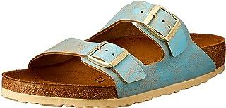 Birkenstock Australia Women's Arizona Sandals, Washed Metallic Aqua, 40 EU