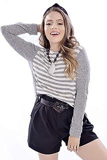 Suéter Mania de Sophia Tricot Listrado Cinza/Branco