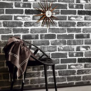 YT404 Black/Gray/White Brick Wallpaper,3D Vintage Faux Brick Panel for Bedroom Living Room Bar Wall Decoration 393.7in×20.9in