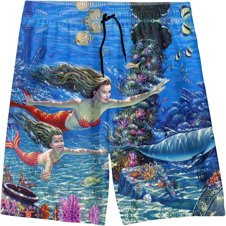 Beautiful Ocean Cute Mermaid mom with Girl Youth Beach Pants