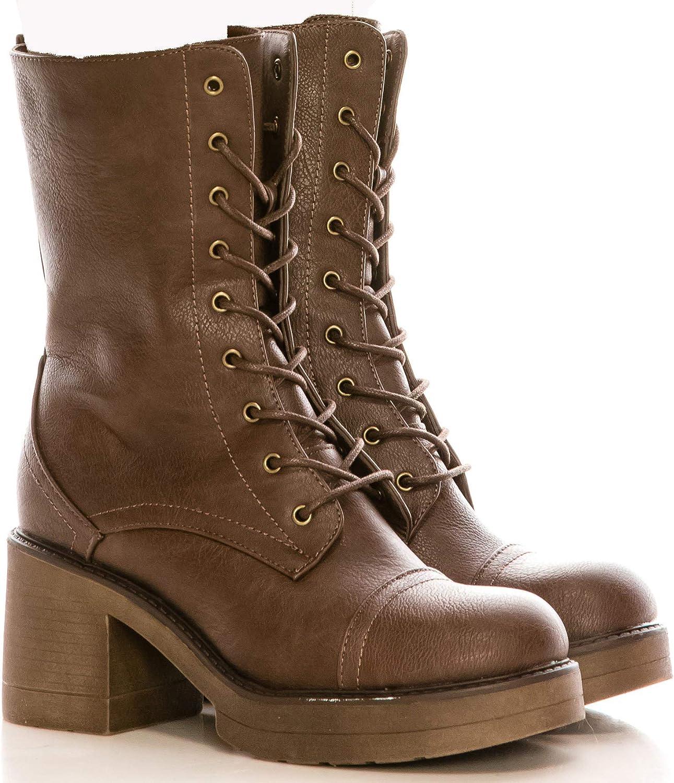 Calico KiKi PORTIA-CK01 Women's Chunky HIGH Heel Boots - Side Zipper Mid Calf Boots - Lace up (7 US Brown PU)
