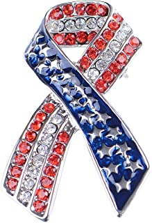 Silver Tone Crystal Rhinestone 4th of July American USA Flag Patriotic Pin Brooch