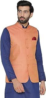 WINTAGE Men's Banarasi Art Silk Cotton Blend Festive and Casual Nehru Jacket Vest Waistcoat