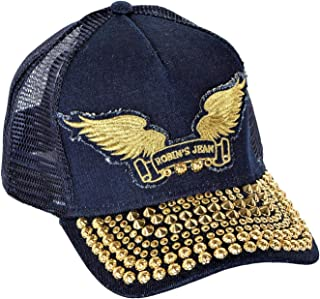 Cap With Gold Diamond SW and Gold Parachute Curve Bill Snap Back Indigo One Size