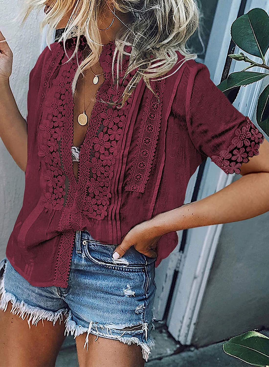Astylish Women's V Neck Short Sleeve Top Lace Crochet Casual Loose Button Down Shirts Blouses