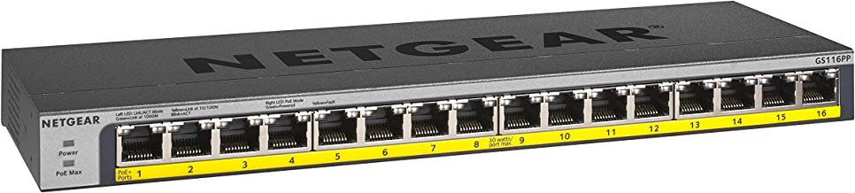 NETGEAR 16-Port Gigabit Ethernet Unmanaged PoE Switch (GS116PP) - with 16 x PoE+ @ 183W, Desktop/Rackmount, and ProSAFE Limited Lifetime Protection