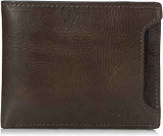 Fossil Men's Sliding 2 in 1 Wallet, Derrick- Dark Brown, One Size