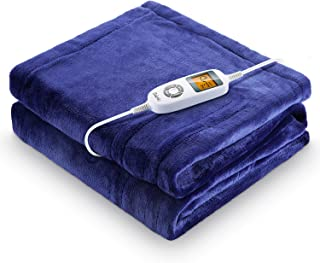 iTeknic Heated Blanket, Electric Blanket Throw 60x 50, 10 Fast Heating Levels, 1/2/3 Hours Auto Off, ETL Certification, Machine Washable, Overheating Protection, Flannel Heating Blanket Home Office