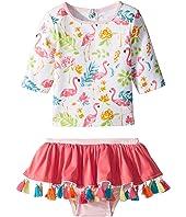 Floral Flamingo Rashguard Two-Piece Swimsuit (Infant)