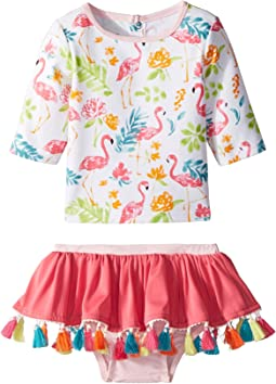 Mud Pie Floral Flamingo Rashguard Two-Piece Swimsuit (Infant)