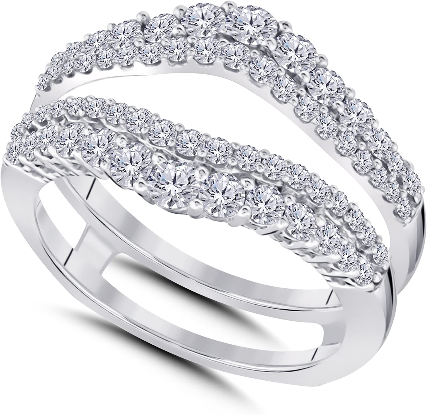 14k White Gold Baltimore Discount mail order Mall Plated Double Wedding Cu Enhancer Ring with Guard