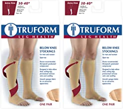 Truform Compression 30-40 mmHg Knee High Open Toe Stockings White, X-Large, 2 Count