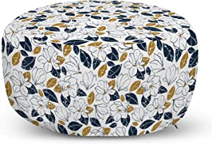 Lunarable Mustard Ottoman Pouf, Grunge Style Dotted Flower and Leaf Silhouettes Vintage Garden Elements, Decorative Soft Foot Rest with Removable Cover Living Room and Bedroom, Night Blue Pale Coffee