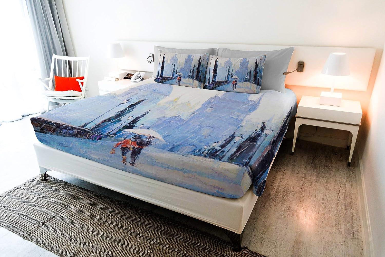 """Italian Bed Linen Parure de lit """"Sogni d'Autore"""" avec impression digitale à couverture totale, fabriqué en Italie, 100% Coton, SD25, 2 Places Sd31"""