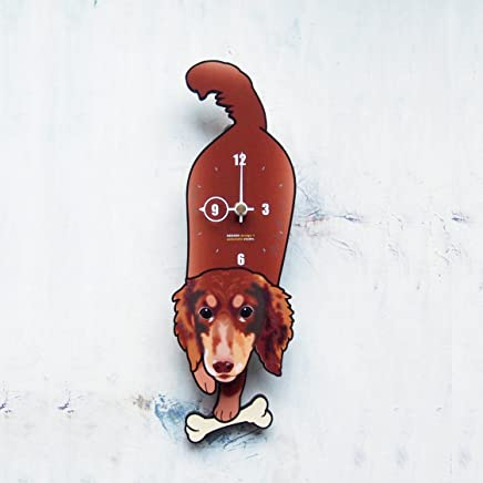 D-60 ダックス(ロングブラウン)-犬の振り子時計