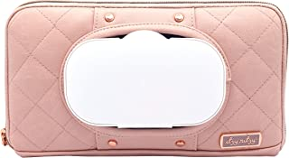 Itzy Ritzy Travel Wipes Case – Portable, On-The-Go Baby Wipes Holder Including Removable Clips for Car Visor Or Seat Back, Designed to Hold Packs of Up to 64 Wipes, Blush