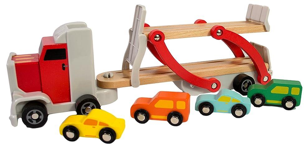 Wooden Car Semi Truck Toy Includes 4 Cars, Semi Truck Toy, Toy Semi Truck And Trailer, Tow Truck Toy