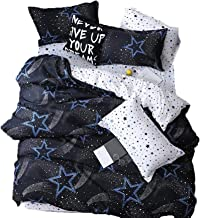 SooFam 4Pcs Blue Cartoon Stars Printed Bedding(No Comforter) Set for Kids Boys and Girls,Including 1 Duvet Cover 1 Bed she...