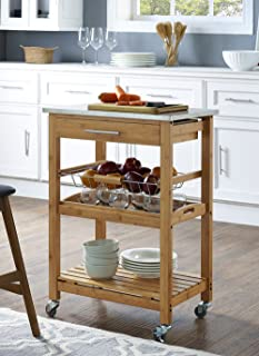 Best bamboo kitchen cart with stainless steel top Reviews