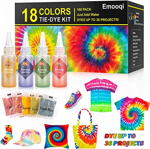 Tie Dye Kits, Emooqi 18 Colours Permanent All-in-1 Tie Dye Set with 36 Bag Pigments, Rubber Bands, Gloves, Apron and ...