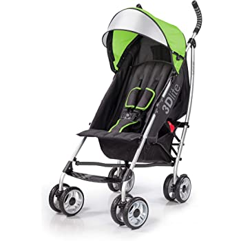 Summer 3Dlite Convenience Stroller, Green – Lightweight Stroller with Aluminum Frame, Large Seat Area, 4 Position Recline, Extra Large Storage Basket – Infant Stroller for Travel and More