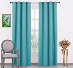 Jupon Silk Blackout Curtain (Pack of 1 Piece) with 3 Layers Weaving Technology & Solid Grommet Pattern/Thermal Insulated Draperies Energy Saving (Door - 48inch X 84inch) Turquoise