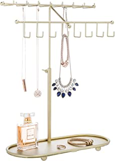 MyGift Gold-Tone 2-Tier Adjustable-Height Necklace & Bracelet Stand with Ring Tray
